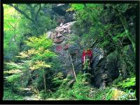 磨崖仏(マガイブツ)。岩肌に刻まれた高さ10m幅7mの不動明王坐像