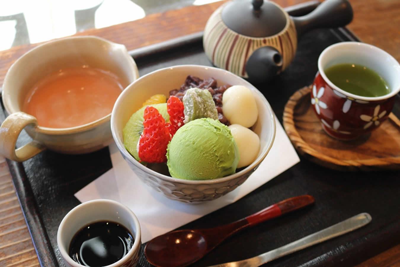 ショコラオレンジと冷抹茶のセット 840円