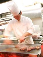オープンキッチン、ステーキコーナー