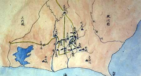 森町域内外の城郭をめぐる攻防戦図(1501~1573年)