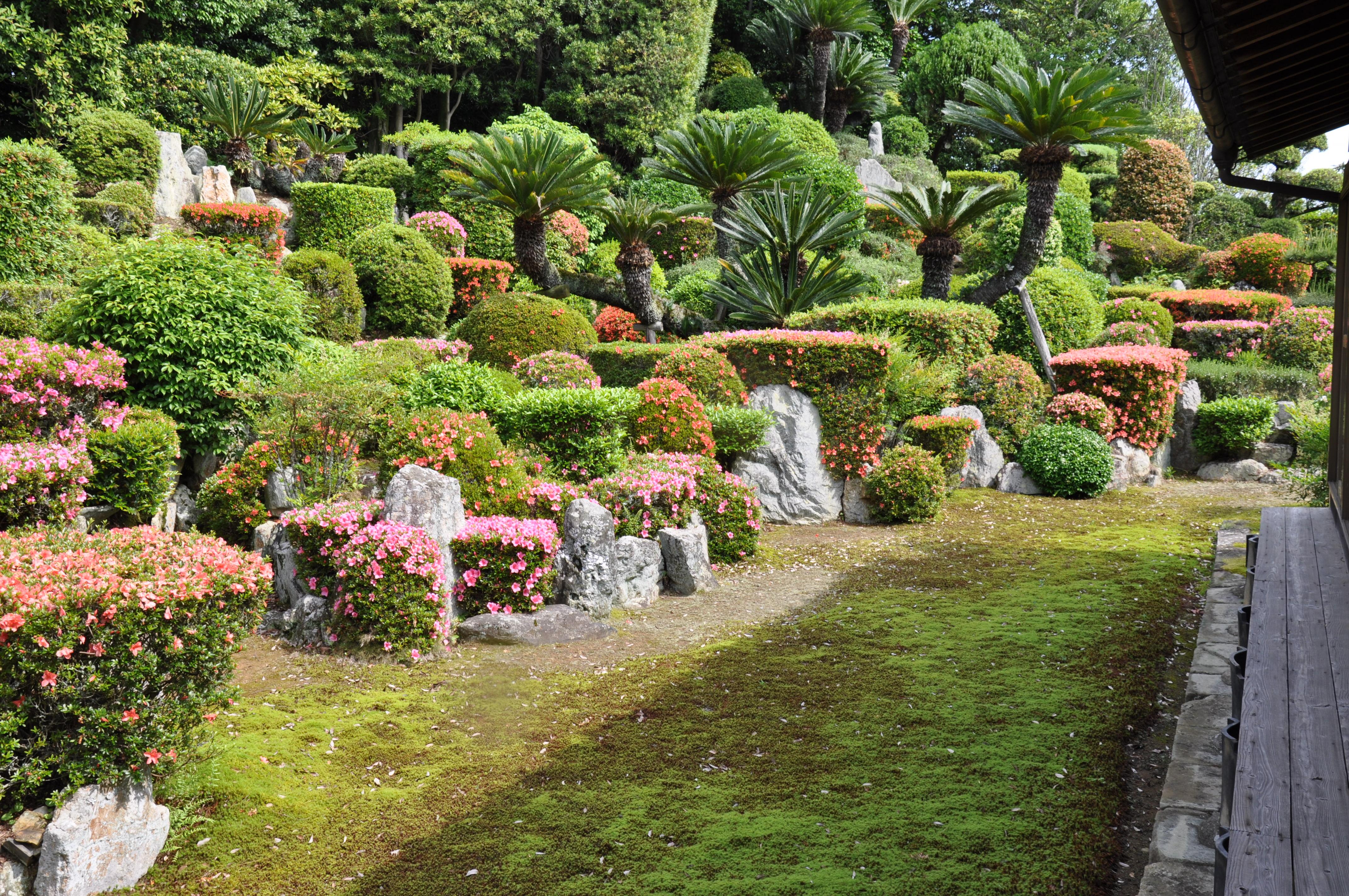 枯山水の庭園、西面